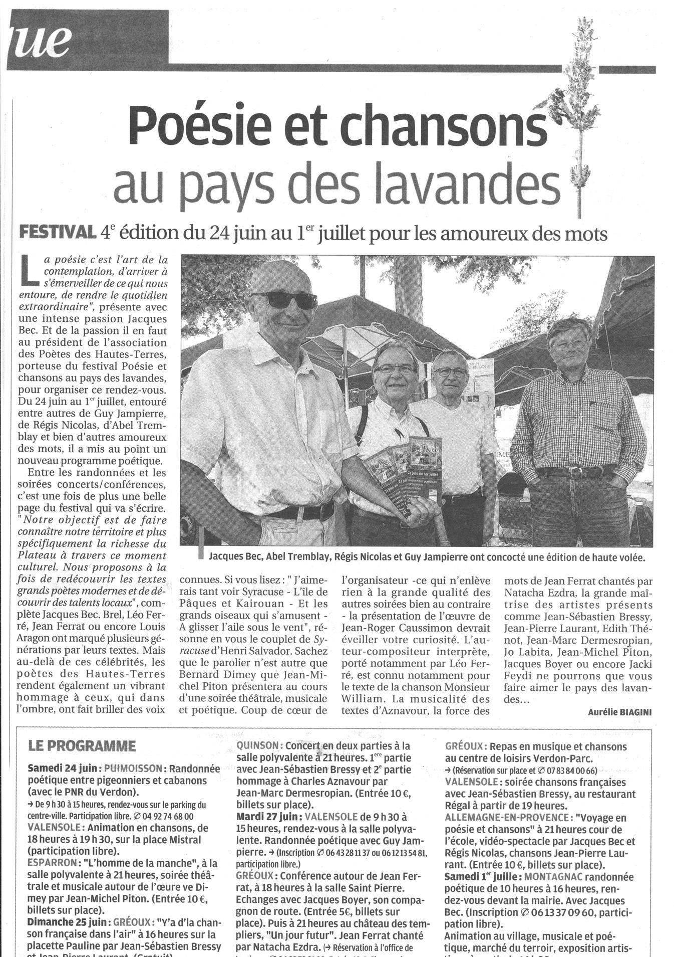 La Provence article Festival 4ème édition 2017