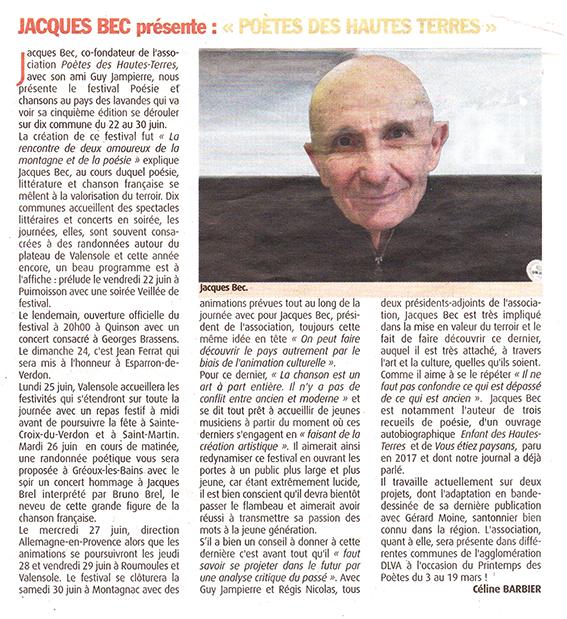 Haute Provence Info, article Festival 5ème édition 2018
