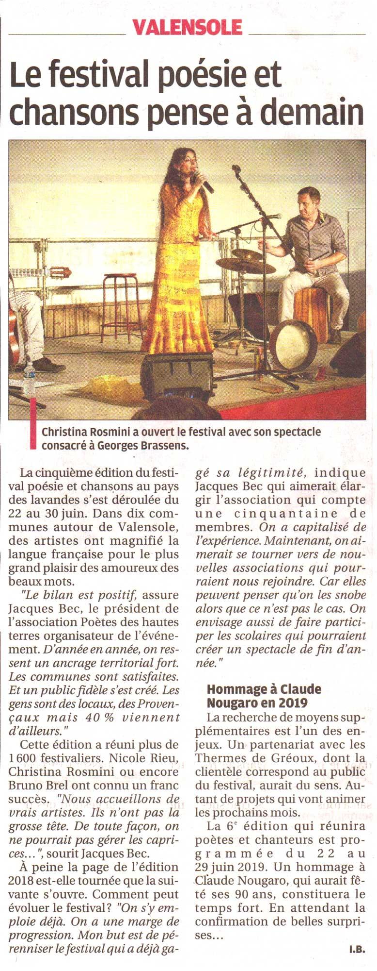 La Provence, article bilan sur le Festival 5ème édition 2018